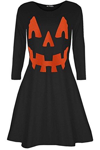 Oops Outlet Femmes Citrouille Déguisement Halloween Pull fête évasé Mini Robe évasée – Citrouille Noir, S/M (UK 8/10)