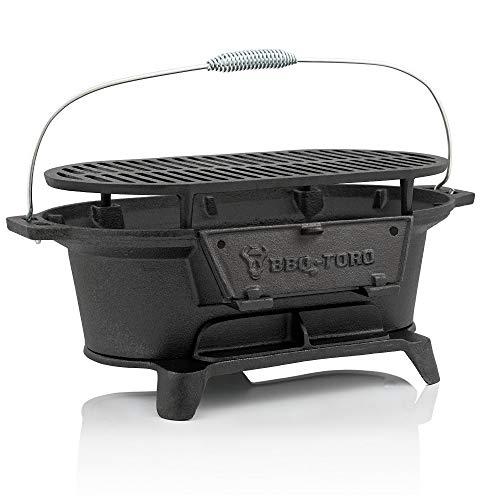 BBQ-Toro Pentola in ghisa con griglia | 50 x 25 x 23 cm | Barbecue da campeggio a carbone di legna...