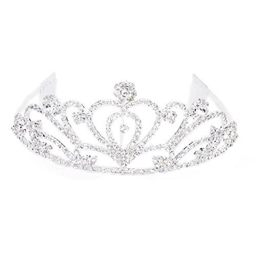 SODIAL(R) Fashion Wedding Party Bride Crown Rhinestones Headband with Comb Tiara White
