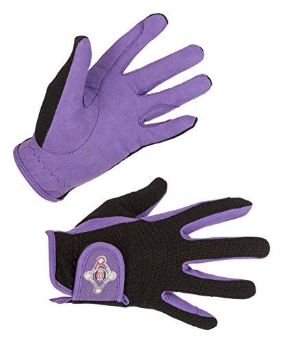 Covalliero Kinder Kinderreithandschuh Lilli Black/Purple, Größe S Reithandschuh