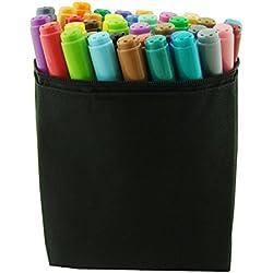 Lanxivi Premier Doble arte Marcadores, Fine y punta biselada, bolígrafo de tinta de base de agua, color 36