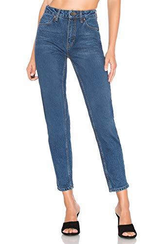H HIAMIGOS Damen Mom Jeans Tapered Boyfriend Fit, dunkelblau, W27/L30