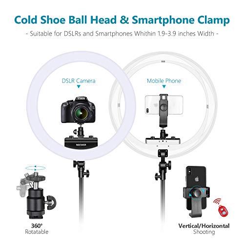 Neewer Ring Light Kit [1,8cm Ultra Fin] Anneau Lumineux 48 cm, 3200-5600K, Lumière Anneau à Intensité Réglable avec Pied, Porte-Smartphone, ... 26