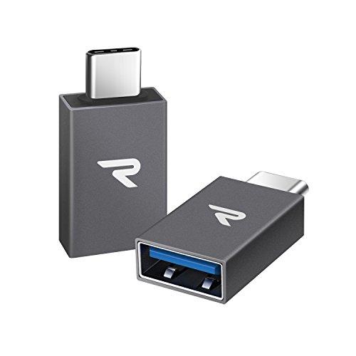 Adattatore USB C a USB 3.1[OTG] rampow® Adattatore Tipo-C (maschio) a USB A femmina)–Alluminio USB 3.1Tipo C per MacBook Pro 2016/2017, Nexus 5X/6P, Samsung S9/S8/A5, Huawei e altri dispositivi con USB C -- Confezione da 2