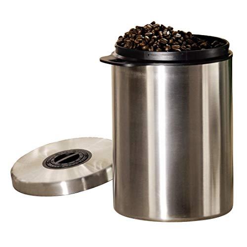 Xavax Kaffeedose, für 1kg Kaffeebohnen, Behälter für Kaffee, Tee, Kakao, mit Aromaverschluss, Edelstahldose, luftdicht, 1000g, silber