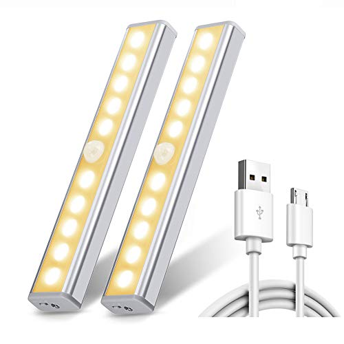 Chesbung Luce per Armadio, [2pcs ] Luce Wireless a 10 LED con Sensore di Movimento, Luce Notturna...