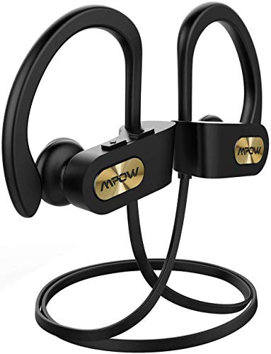 Mpow Flame Upgraded Bluetooth Headphones with Case, IPX7 Waterproof Wireless Earphones Sport W/Mic, 7-9 Hrs Playtime, in-Ear Wireless Earbuds W/Rich Bass & HiFi Stereo, Running Headphones, Gold