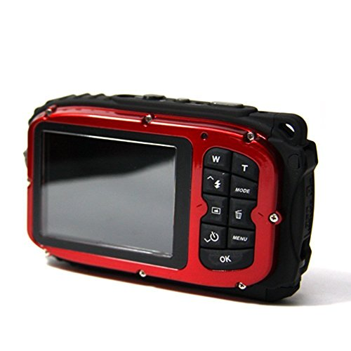 MAXLY 2.7 Zoll LCD-Kameras 16MP Digitalkamera Unterwasser 10m Wasserdichte Kamera + 8x Zoom-Rot