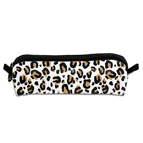 Astuccio in tela con cuori leopardati per studenti, per cancelleria, trucchi, cosmetici, 21 x 5,5 x...