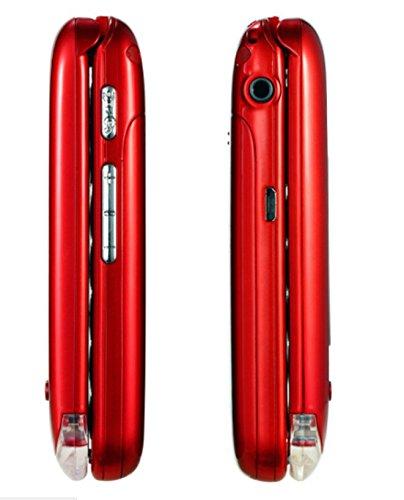 Eg520Senior débloqué GSM téléphone Portable, Bouton SOS, Compatible avec Une Aide auditive Rouge 27