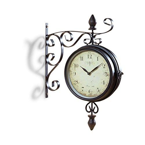Pajoma 47929, Orologio da Parete Vintage, con quadrante su Entrambi i Lati, Nero (Schwarz), ferro