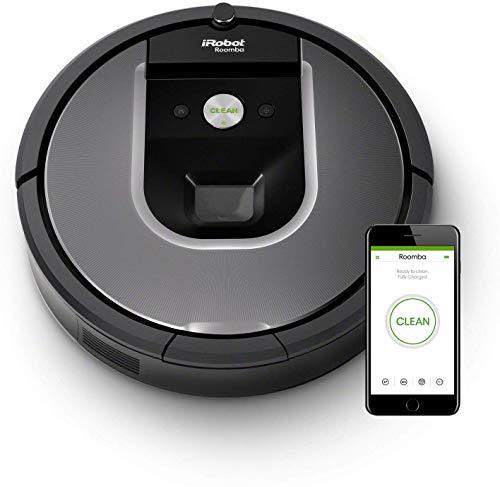 412qQUlTYOL [Bon Plan Neato] iRobot Roomba 960, aspirateur robot avec forte puissance d'aspiration, 2 brosses anti-emmêlement, idéal pour animaux, capteurs de poussière, parfait sur tapis et sols, connecté, programmable via app