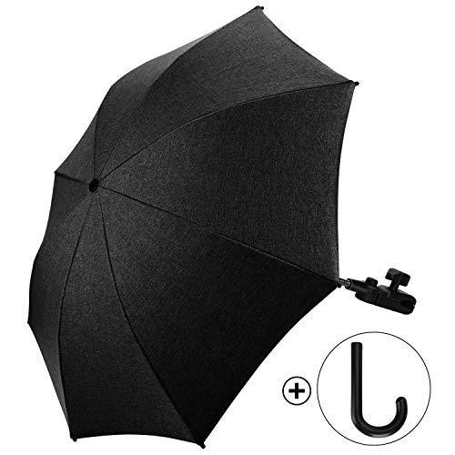 Ombrellino Parasole Universale per Passeggino e Carrozzina 73cm Diametro Protezione Anti UV 50+ con Un Manico per Ombrello - Nero