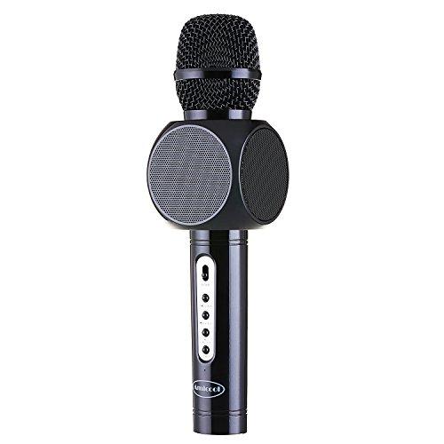 Bluetooth Karaoke Mikrofon,Amicool E103 Tragbarer Karaoke Player Lautsprecher Kompatibel mit Apple iPhone Android Smartphone oder PC, Home KTV Outdoor Party Muisc Spielen Singen zu jeder Zeit(Schwarz)