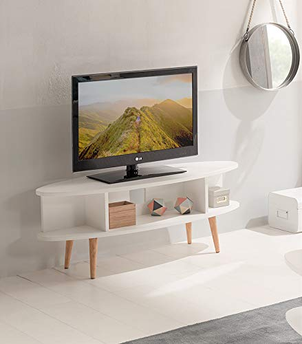 Hogar24 - Tavolo TV, Mobile TV Soggiorno Design Vintage con Ripiani Finitura Legno MDF Laccato...