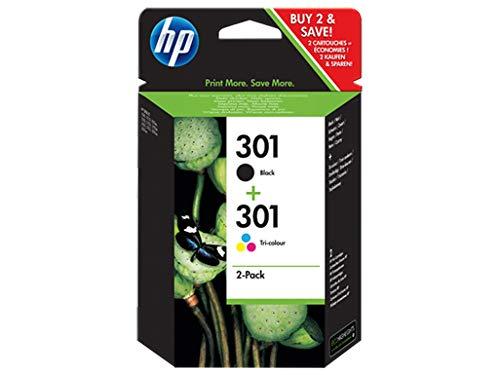 HP 301 N9J72AE Confezione da 2 Cartucce Originali per Stampanti a Getto di Inchiostro HP DeskJet...