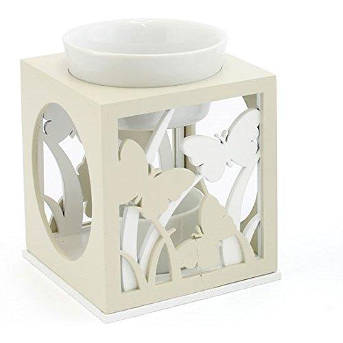 Mariposas–crema y blanco soporte para luz de té y quemador de aceite