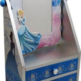 Disney 90001 – Cinderella Portatrucchi con Specchio in Legno, in Confezione Regalo, 19.5x11x30