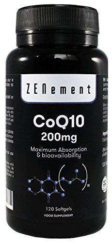 Coenzima Q10 200mg, 120 Capsule Softgel | Assorbimento e Biodisponibilità Ottimale | CoQ10 100% Naturale, non OGM, Senza Glutine | di Zenement