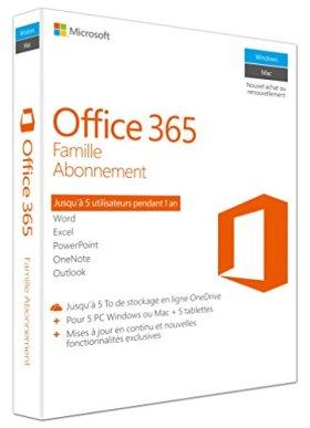 Office 365 Famille | 5 PC Windows ou Mac + 5 tablettes | 1 an | Téléchargement