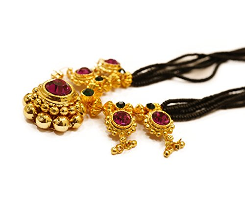 Tejas Immitation Jewellery Black Gold Plated Traditional Handmade Mangalsutra with 4 Pendats for Women and Girls