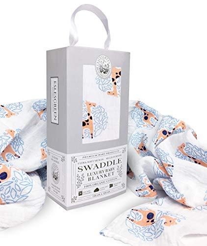 Eslesgreen Manta Muselina de bebé Grande 120x120cm   100% Algodón Orgánico Super Suave   Regalo de bebé   Set de regalo recién nacido  