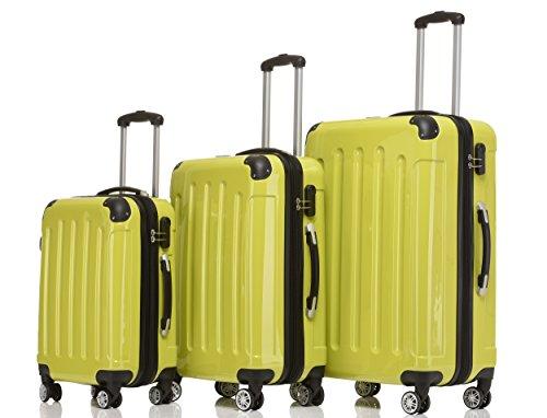 BEIBYE Hartschalen Koffer Trolley Rollkoffer Reisekoffer 4 Zwillingsrollen Polycabonat (Grün, Kofferset)