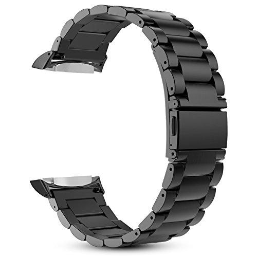 Fintie Cinturino per Samsung Gear S2 Watch Watch - Cinturini di Ricambio in Acciaio Inossidabile Banda con Chiusura Pieghevole per Samsung Gear S2 SM-R720/SM-R730, Nero