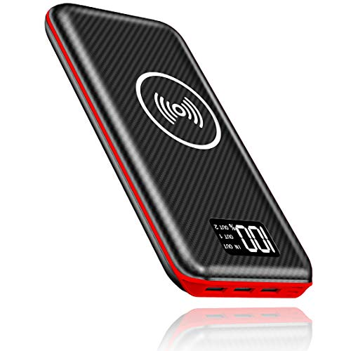 KEDRON Power Bank 24000mAh Caricabatterie Portatile Caricatore Wireless con Display LCD Digitale e 3...