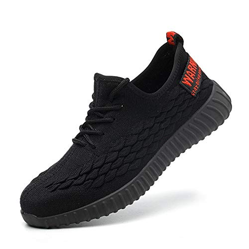 Gainow Zapatos de Seguridad Zapatos de Trabajo Zapatos con Punta de Acero Ligero y Transpirable Hombres Mujeres Deportes Unisex Zapatos de Verano, Negro 43