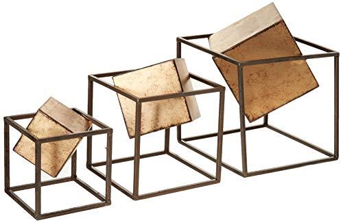 Quad Gold Cube - Modern Living Room Table Decor, Home Decorations Set of 3, Black/Gold