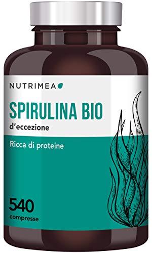 Spirulina BIO 1500 mg Al Giorno • 540 Compresse Con il 60% di Proteine Vegetali in più • Alga Naturale con 19% di Ficocianina • 900 mg Di Proteine Al Giorno • Stress, Fatica, Resistenza, Unghie, Capelli