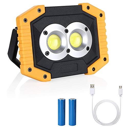flintronic LED Portatile, 20W&1500LM LED Ricaricabile con Batteria Ricaricabile Integrata 2X COB Lavoro Luce da Campeggio Lamp Impermeabile, 3 Modalità Regolabili