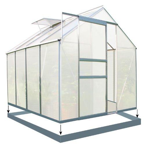 Zelsius Aluminium Gewächshaus für den Garten | inklusive Fundament | 250 x 190 cm | 6 mm Platten | Vielseitig nutzbar als Treibhaus, Tomatenhaus, Frühbeet und Pflanzenhaus