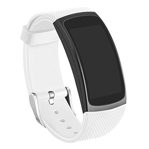 Fascia Fit 2 Pro/Fit 2, cinturino in silicone Kmasic per Samsung Gear Fit 2 & 2 Pro Tracker (Bianca)