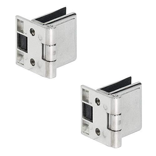 Gedotec Glas-Türscharnier Schrank-Tür Glastürband für Vitrinen - H5250 | Stahl vernickelt | Möbelband mit Innenanschlag für Glas & Holz | Öffnungswinkel 170° | 1 Paar - Möbel-Scharnier für Glastüren