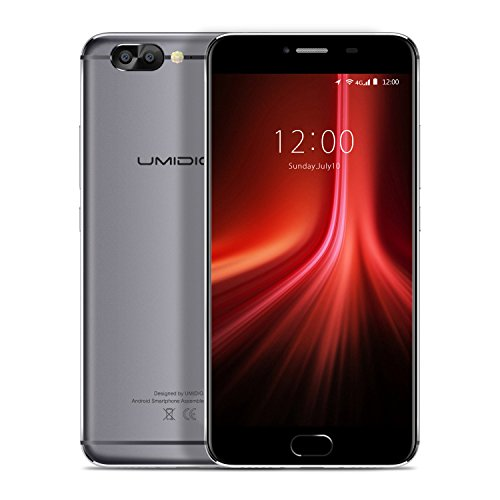 UMIDIGI Z1 Smartphone Ohne Vertrag(5.5 Zoll Display, 6GB RAM 64GB ROM, 4000mAh, 4G Dual SIM, Dual Kamera, Front Touch Fingerprint Sensor, Quick-Charging, Android 7.0,) - Grau
