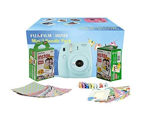 FujiFilm Instax Mini 9 Bundle Pack Instant Mini 9 Combo Offer (Ice Blue Bundle Pack)