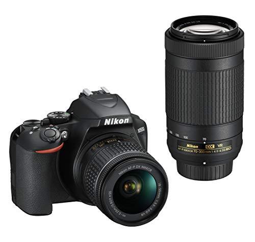 Nikon D3500 Fotocamera Reflex Digitale con Obiettivo Nikkor AF-P DX 18-55 VR e AF-P DX 70-300 VR, 24.2 Megapixel, LCD 3', SD da 16 GB 300x Premium Lexar, Nero [Nital Card: 4 Anni di Garanzia]