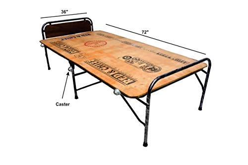"""PARVESH Smart Plywood Folding Bed Size 36"""" X 72"""" with Castor Wheel"""