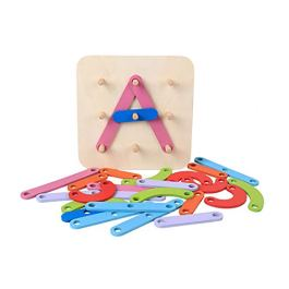 AchidistviQ legno numero lettera Shape color Sorting Stacking Block bambini giocattolo educativo
