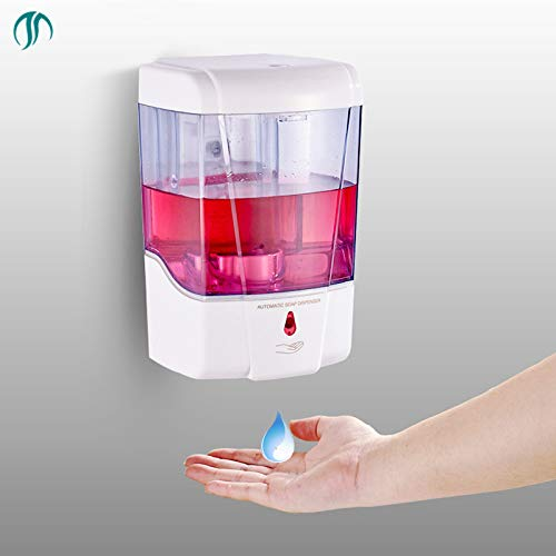 SUCASA Battery Powered 700ml Wall-Mount Automatic IR Sensor Soap Dispenser Touchless Handsfree Kitchen Soap Lotion Pump for Kitchen Bathroom
