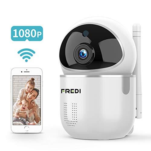 FREDI 1080P Telecamera Wi-Fi Interno IP Telecamera di Sorveglianza Wifi Wireless Camera,videocamera IP Interno Wireless con Visione Notturna, Notifiche in tempo reale del sensore di movimento
