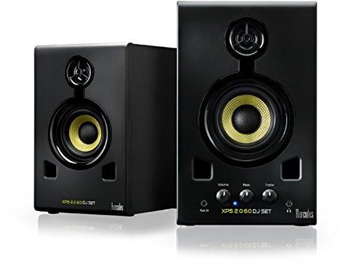 Hercules XPS 2.0 60 DJ Set - Altavoces para DJ 2,0, 60 W, Entrada de línea RCA, rueda control volumen/bajos/agudos