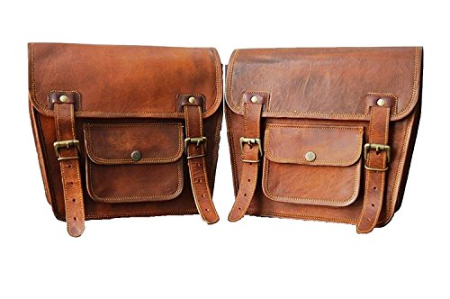 Motorrad Seitentasche Braunes Leder Seitentasche Satteltaschen Sattel Packtaschen (2 Taschen) Motorrad Fahrrad 2 Motorcycle Side Pouch Brown Leather Side Pouch Saddlebags Saddle Panniers 2 Bag