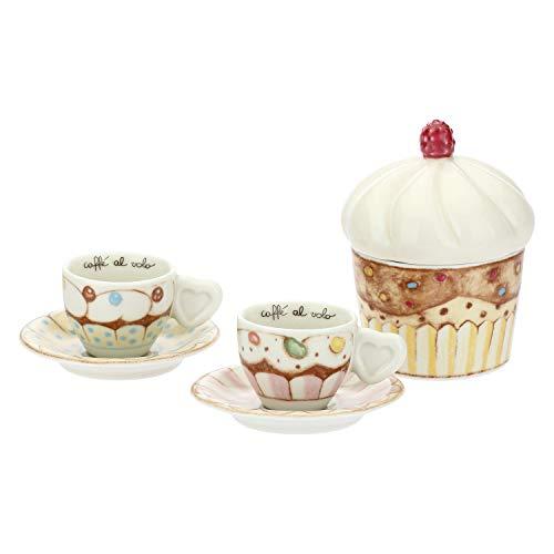 THUN ® - Set 2 Tazzine caffè e zuccheriera - Linea New Sweet Cake - Porcellana - 100 ml - Ø 6 cm