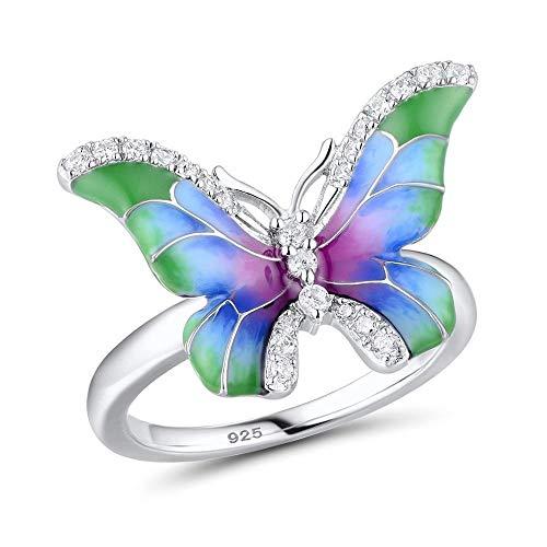 ZHOUYF RING Anillo 925 Plata Esterlina Elegante Colorido Anillo De Mariposa Brillante Cz Moda Joyería Esmalte Hecho A Mano, 8#