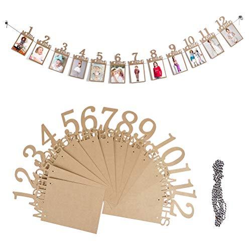 ofnmy 1 ° Compleanno Bunting Ghirlanda Baby Photo Banner Bambino 1-12 Mesi Foto Prop Party Bunting Decor Carta Kraft Carta addensata