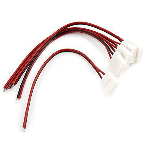 sourcing map Cavo connettore per luci LED 5050,10mm,Adattatore PCB a 2 Pin Bianco,Confezione da 5