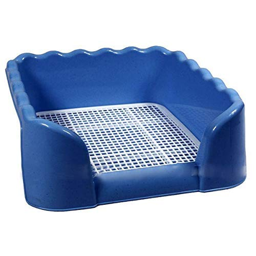 Zeagro Hundetoilette, Hundetoilette Welpentoilette mit High Zaun Hund Töpfchen Pet Training WC Hundeklo Welpenklo für Hunde Welpen Katzen (Blau)